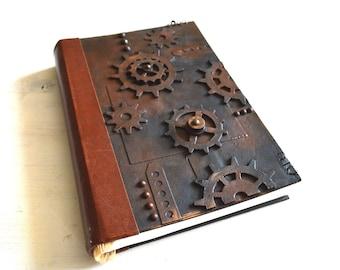 Watercolor journal sketchbook Fabriano 300gsm paper, steampunk handmade book,  notebook, sketchbook, gift for artist, artist journal