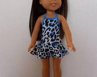 One piece skirted animal print  swimsuit fits 14 1/2 inch American made Wellie Wisher Girl Dolls
