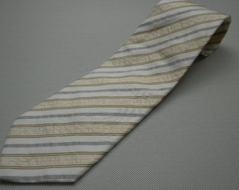 Vintage 90s Hugo Boss Off White Pastel Striped Silk Neck Tie Made in Italy