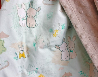 Adorable Bunny Rabbits with Bowties, Light Blue with Grey, Mustard and Sage, Light Tan Minky Dot Back, Toddler Security Blanket/Playmat
