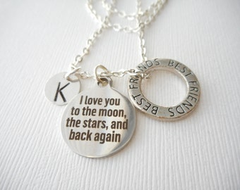 I Love You to the Moon, the Stars, and Back Again, Best Friends -Initial Necklace/ Friend Necklace, best friend jewelry, friendship necklace