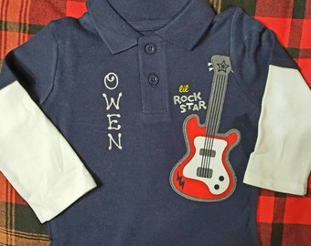Baby Boy personalized outfit, infant guitar bodysuit, baby boy shower gifts, baby boy bodysuit with collar, Newborn gifts
