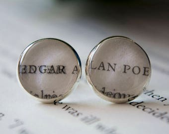 Edgar Allen Poe Earrings Book Earrings Book Jewelry Book Earrings Bookish Gifts Nevermore The Raven Book Club Gifts