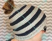 Messy Bun Hat Beanie, Mom Bun Hat Beanie, Ponytail Crochet Hat, custom made