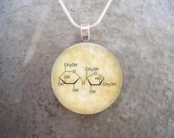 Chemistry Jewelry - Sugar - Sucrose Molecule - Glass Pendant Necklace