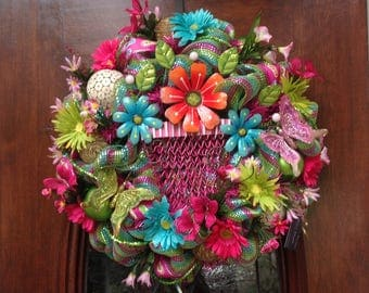 Metal Flower Basket Wreath