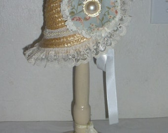 """18"""" Doll Straw Hat with White Ribbon,Lace and Fabric Flower, Lace and Pearl Button Accent for Pretend Play"""