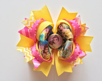 Ready To Ship Hairbow! Princess Belle Hairbow, Beauty And The Beast Hairbow, Princess Hairbow Chevron Boutique Hairbow Girls Hairbow