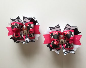 SALE! Ready To Ship Hairbows! 2 Minnie MouseHairbows, Minnie Mouse Zebra Print Hairbows, Twin Hairbows, Minnie Zebra Print Boutique Hairbows
