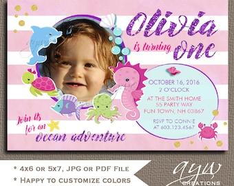 Under the Sea Birthday Invitation Printable 1st Birthday First Birthday Under the Sea Party Birthday Invites Photo Watercolor Glitter Chic