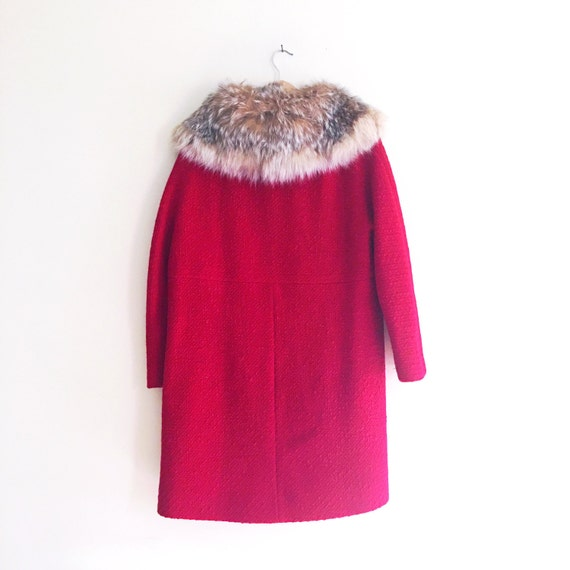 Vintage Fur Collar Cherry Red Princess Coat // by AllyHootVintage