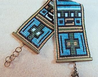 Blue, Gold, and Green Loom Bracelet