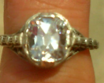 Old Mine  Cushion Cut Edwardian Style Engagement Ring