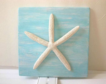Starfish Wall Plaque One White Finger Starfish Aqua Blue Wall hanging picture Beach House Cottage Coastal Decor Sign Shell Ocean Sea frame