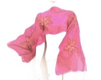 Dark Pink Silk Scarf Nuno Felted Sunset Flower