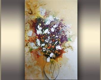 Floral Art, White Lilies, Flowers of Love, ORIGINAL art, Acrylic Painting, Large Art, Colorful Modern Art, Abstract Art, Tatjana