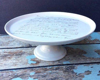 Cake stand with recipe, recipe plate, handwriting transfer, handwriting display, memorial gift, foodie gift, wedding gift, bridal shower,