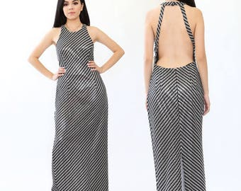 VTG 90s Metallic Sliver ZigZag Crochet backless cocktail party Maxi dress M