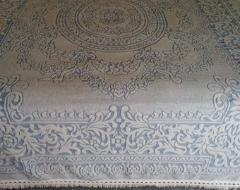 Two Matching Light Blue and Ivory Twin Size Vintage Woven Bedspreads