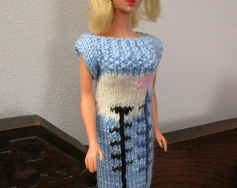 Barbie clothes - pale blue dress with pink and white flower design