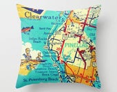 Beach Decor Clearwater Florida Map Pillow Cover Pinellas Beach house hostess gift Indian Rocks Beach Throw Pillow Decorative Map Pillow blue
