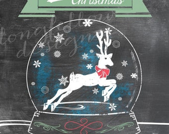 Merry Christmas - Reindeer / Snowflake Snow Globe - Chalkboard Look 11 x 14 Print - Choice of with blue or without