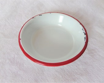Vintage Enamelware Small Bowl Red White 4 1/4 Inches