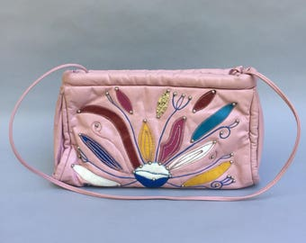 Awesome 70s pink leather purse w multi color leaf fronds w long strap