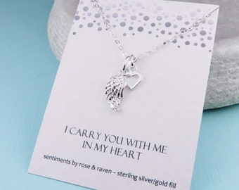 Silver Angel Wing Necklace - I carry you with me in my heart - message card