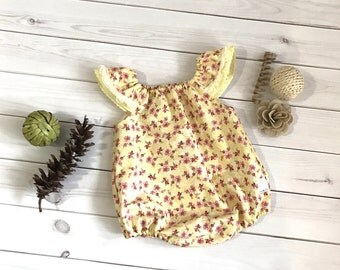 Baby Romper - baby playsuit - newborn outfit - yellow baby romper - spring baby outfit - new baby gift - baby outfit - flutter sleeve romper