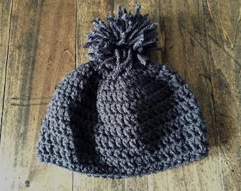 Charcoal Gray Crochet Childs Beanie, Kids Pom Pom Hat. Gift for Children, Girls Hat, Gray Boys Beanie.