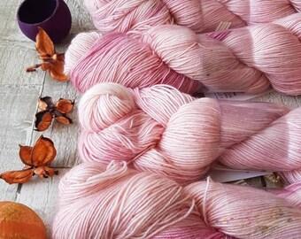 Kid mohair yarn, 4ply yarn, hand dyed yarn, Cherry Blossom colourway, pink yarn, pink wool, pink mohair yarn, luxury yarn, knitting yarn, UK