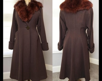 1950s brown one button dolman Princess Coat with fox collar size L / XL