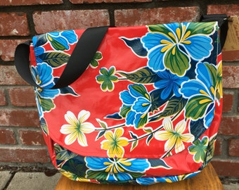 Hand made Oilcloth Messenger Bag Purse Red Hibiscus