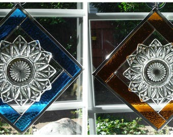 Petal Plate Set Over Stained Glass Frame in Turquoise and Amber