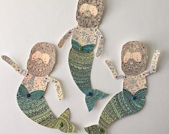 Vintage merman paper doll- Handmade from a print of an original illustration OOAK Nautical Adventure-Ready to Ship- merman