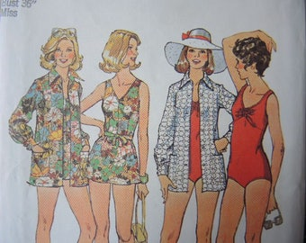 vintage 1970s simplicity sewing pattern 6356 misses bathing suit and coverup uncut size 14
