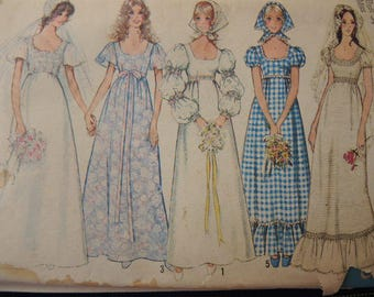 vintage 1970s simplicity sewing pattern 9825 misses wedding dress or bridesmaid dress and scarf size 12