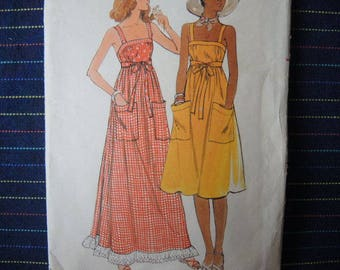 vintage 1970s Butterick sewing pattern 4867 misses summer dress size 10