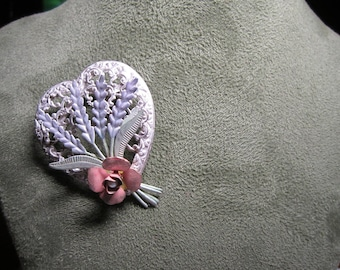 Vintage Flower heart pin brooch, vintage pin brooch, retro