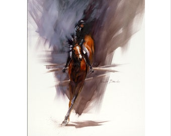 Horse Art - Matted Print of Original Oil Painting, Equestrian, Equine, Riding, Racing, Competition, Horses, Horse Lovers, Animals