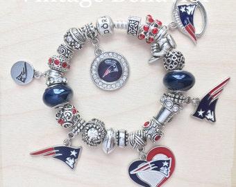 Authentic 925 PANDORA Bracelet with European Charms New England Patriots Theme