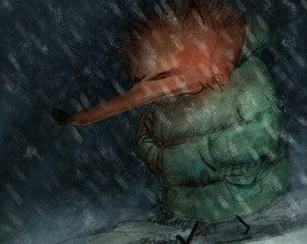 Winter Walk- Fine Art Painting Print of my original illustration Fox Cold Winter Blue Snow Holiday Gift