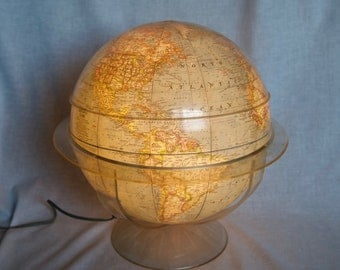 1971 National Geographic World Globe lamp...light up globe with acrylic stand with geometer...blue globe.