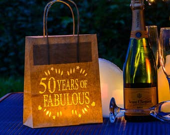 50 years of fabulous Birthday Lantern Bags, perfect party decoration or table centrepiece
