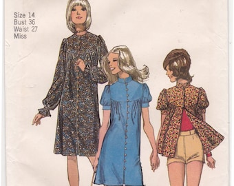 "FF 70s SMOCK Top with Stand Up Collar or Dress and Short Shorts Vintage Sewing Pattern [Simplicity 9745] Size 14, Bust 36"", UNCUT"