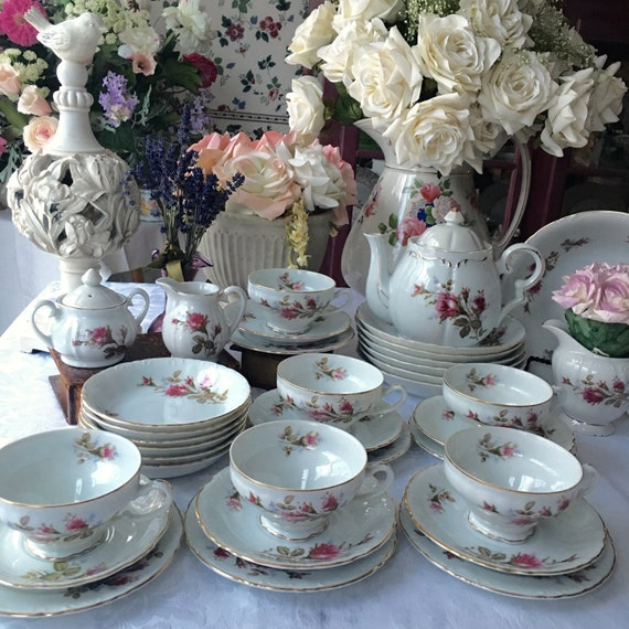 Complete Moss Rose Tea Set for 6 with Lipper and Mann Musical Teapot 35 Pieces, Wedding  Gift Grantcrest Royal Rose