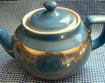 Vintage Teapot Hall 6 Cup Teal Blue Green Tea Pot Gold Trim