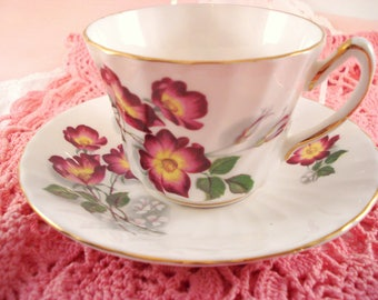 Vintage Teacup Purple Wild Rose Royal Kendall English Bone China Purple Floral Teacup and Saucer Cottage Garden Teacup Tea Party
