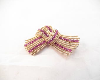 Crown Trifari Brooch, Pink Rhinestones, Gold Tone Metal, Bow or Scarf Pattern, Mint Condition